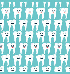 seamless pattern with teeth on light blue vector image