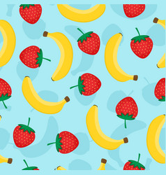 seamless pattern with yellow bananas and red vector image