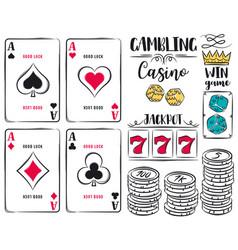 Set gambling symbols ace dice chips vector