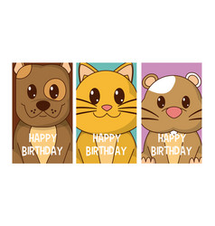 Set of birthday cards with animals vector