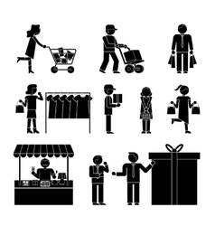 Set of shoppers and shopping icons vector