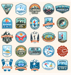 Set snowboarding and rock climbing club patches vector