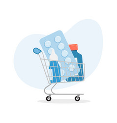 Shopping trolley with pills and medicine pharmacy vector