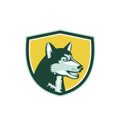 Siberian Husky Dog Head Crest Retro vector