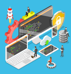 Software development flat isometric vector