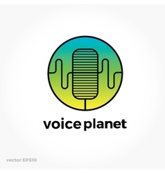 Sound voice planet green wave symbol logo vector