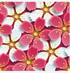 Spring seamless pattern with sakura vector