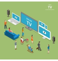 Streaming TV isometric flat vector