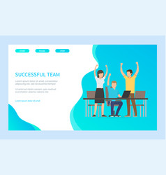 successful team reach success blue webpage vector image