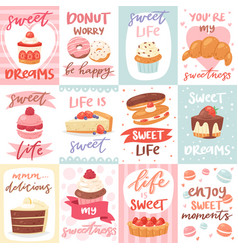 sweets lettering confectionery cupcake sign vector image