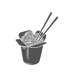 takeaway carton wok box noodles vector image