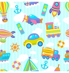 Transport toy seamless pattern vector image