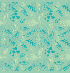 trendy modern abstract blue leaves flora vector image