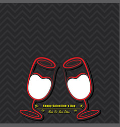 valentine card with cute wine glasses vector image
