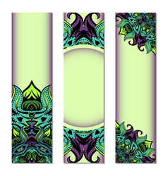 vertical banner set with ornate circular pattern vector image