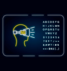 Vr headset neon light icon virtual reality vector