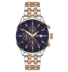 Watch clock chronograph stainless steel copper vector