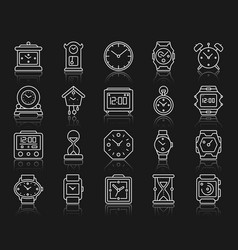 watch simple white line icons set vector image