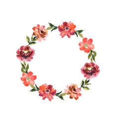 Watercolor wreath with flowers and leaves in vector
