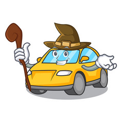 Witch taxi character mascot style vector