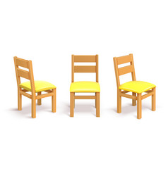 Wooden chair in different position isolated vector