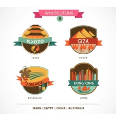 World cities labels - kyoto giza adelaide hong vector