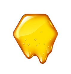 yellow honeycomb with flowing honey isolated vector image