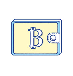 bitcoin symbon in the wallet to save money vector image
