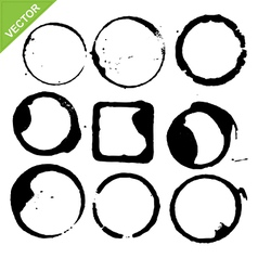 circles grunge of coffee cup vector image