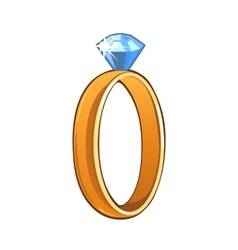 Classic gold ring with blue gemstone vector image