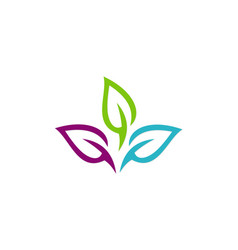colorful leaf organic logo vector image vector image