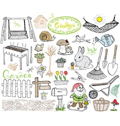 Garden set doodles elements Hand drawn sketch with vector image