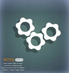 gears icon On the blue-green abstract background vector image