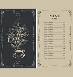 menu for cafe with price list and coffee cup vector image vector image