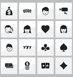 set of 16 editable casino icons includes symbols vector image