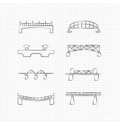 bridges thin line icons vector image vector image