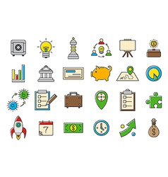 Colorful business strategy icons set vector image vector image