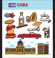 cuba travel landmarks symbols and tourist vector image
