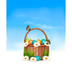 Happy Easter background Basket with eggs and a vector image vector image