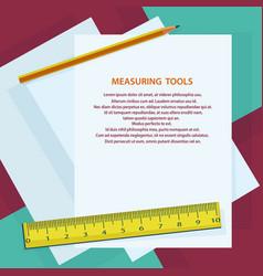 measuring instruments ruler pencil against vector image