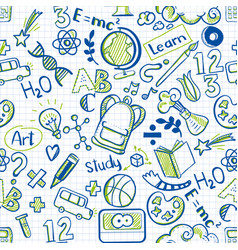 school seamless pattern on squared paper vector image vector image