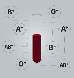blood types test tube with blood vector image vector image