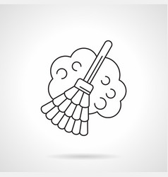 Broom with dust flat line icon vector