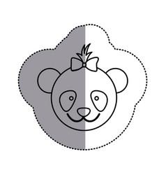 contour face bear bow head icon vector image vector image