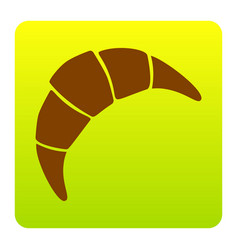 croissant simple sign brown icon at green vector image vector image