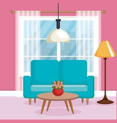 living room scene icon vector image