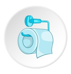 Roll of toilet paper on a metal holder icon vector