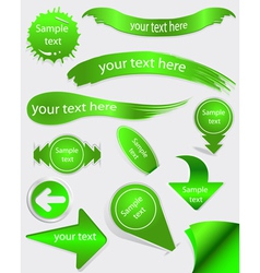 Set of green labels vector image vector image