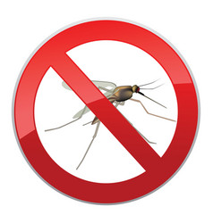 Stop mosquito ban symbol no mosquitoes insect sign vector