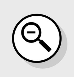 zoom sign flat black icon in vector image
